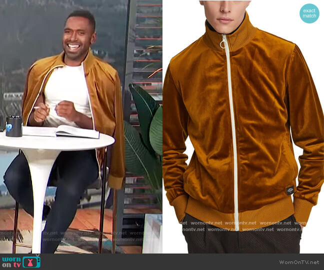 Velour Track Jacket by Scotch and Soda worn by Justin Sylvester  on E! News