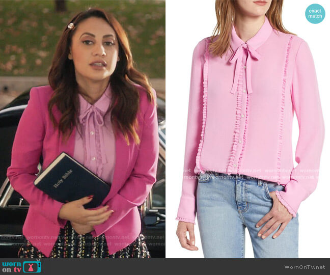 Ruffle Trim Tie Neck Top by Scotch and Soda worn by Ana Torres (Francia Raisa) on Grown-ish