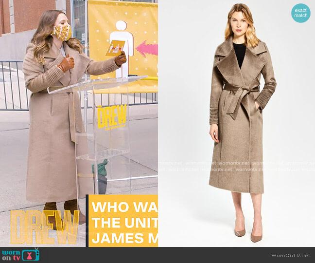 Suri Alpaca Notched Collar Wrap Coat by Sentaler worn by Drew Barrymore  on The Drew Barrymore Show