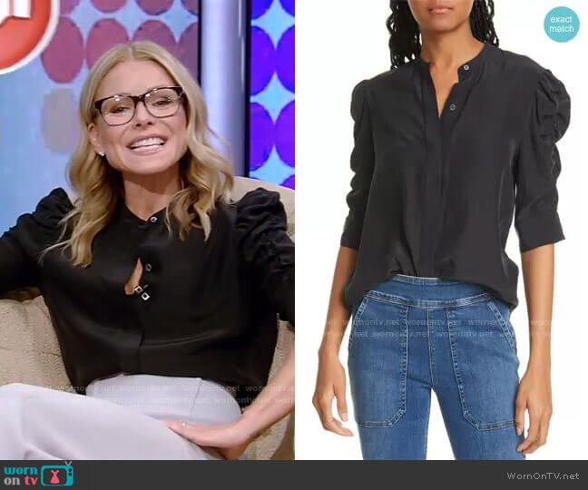 Shirred Sleeve Silk Blouse by Frame worn by Kelly Ripa  on Live with Kelly & Ryan