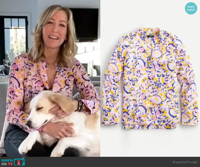Silk Tunic in Paisley Swirl by J. Crew worn by Lara Spencer  on Good Morning America