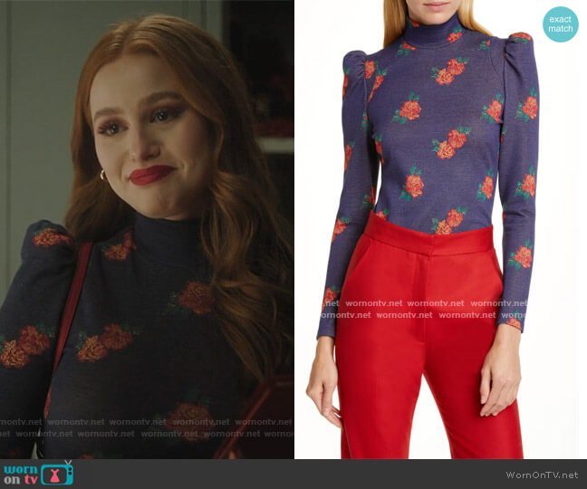 Floral Puff Sleeve Knit Top by Smythe worn by Cheryl Blossom (Madelaine Petsch) on Riverdale
