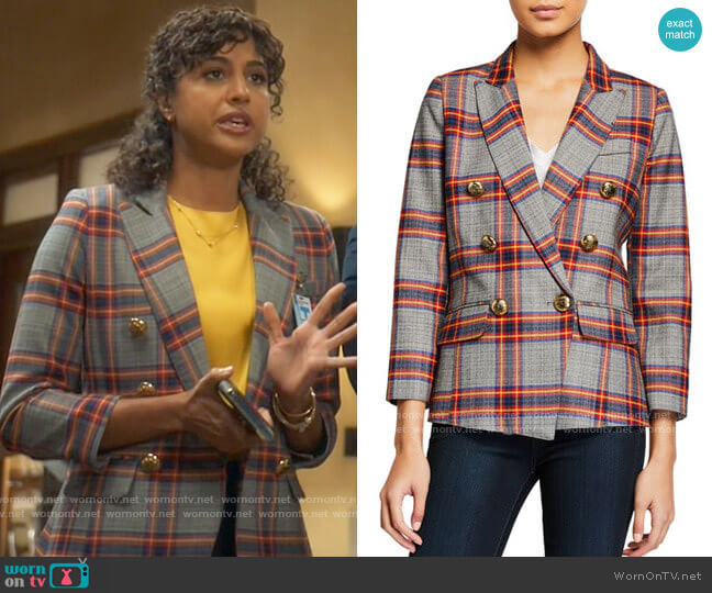 Smythe Mini Double-Breasted Plaid Blazer worn by Mikaela Shaw (Vella Lovell) on Mr Mayor