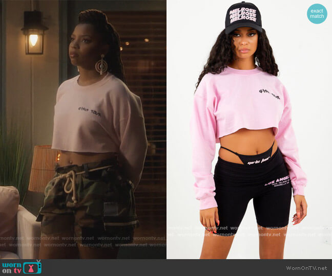 Girls Tour Cropped Sweatshirt by Sosorella worn by Jazlyn Forster (Chloe Bailey) on Grown-ish