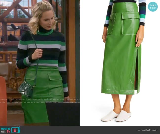 Staud Burn Faux Leather Midi Skirt worn by Mandy Baxter (Molly McCook) on Last Man Standing