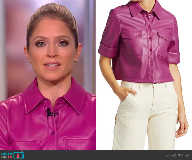 Rue Faux Leather Top by Staud worn by Sara Haines  on The View