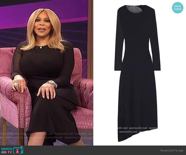 Asymmetric burnout-effect stretch-knit midi dress by Stella McCartney worn by Wendy Williams  on The Wendy Williams Show
