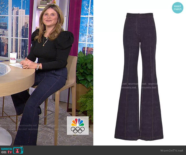 Stretch Denim Ruthie Pant by Pearl by Lela Rose worn by Jenna Bush Hager  on Today