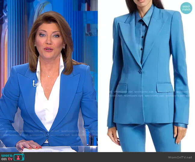 Stretch Pebble Crepe Blazer by Michael Kors worn by Norah O'Donnell  on CBS Evening News