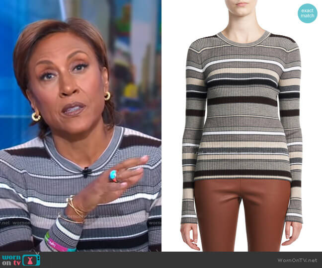 Stripe Crewneck Sweater by Theory worn by Robin Roberts  on Good Morning America