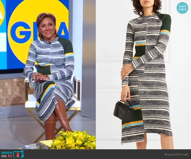 Striped Ribbed Sweater and Skirt by Victoria Beckham worn by Robin Roberts  on Good Morning America