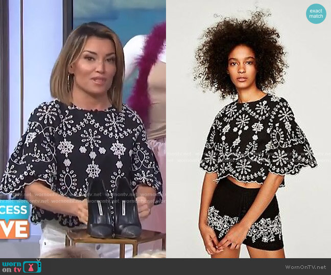Top with Schiffli Embroidery by Zara worn by Kit Hoover  on Access Hollywood