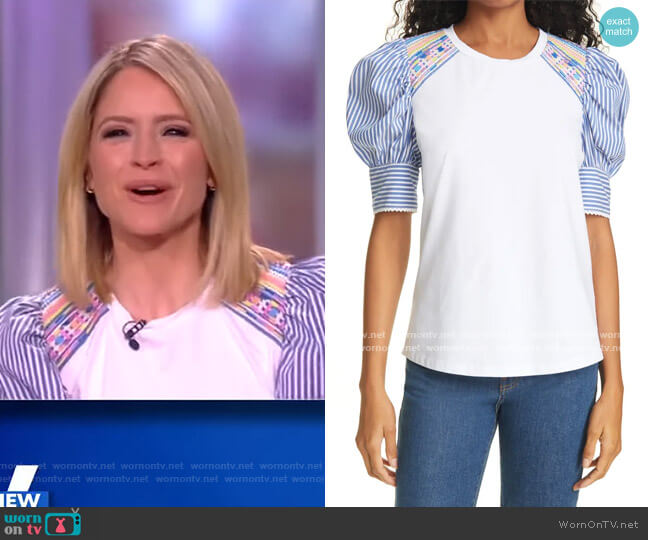 Maddie Puff Sleeve Top by Tanya Taylor worn by Sunny Hostin  on The View