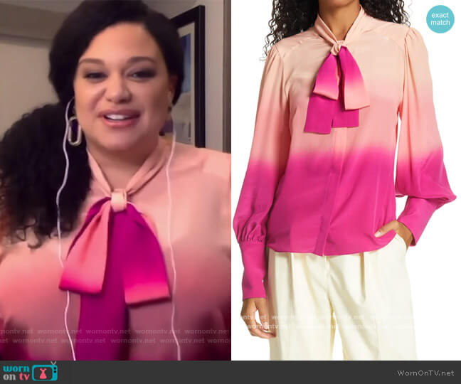 Susan Dip Die Long Sleeve Blouse by Tanya Taylor worn by Michelle's Buteau on The Wendy Williams Show