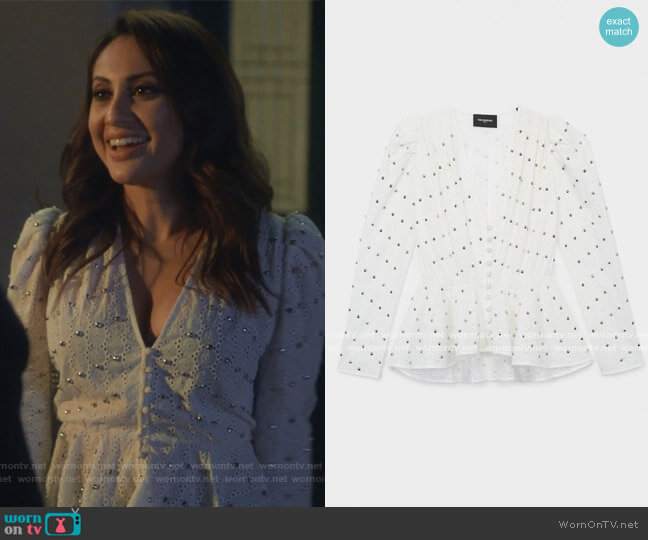 Fancywork Studded Blouse by The Kooples worn by Ana Torres (Francia Raisa) on Grown-ish