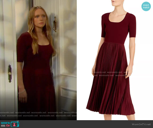 Pleated Midi Dress by Theory worn by Abigail Deveraux (Marci Miller) on Days of our Lives