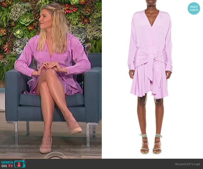 Silk Draped Faux-Wrap Dress by Tibi worn by Amanda Kloots  on The Talk