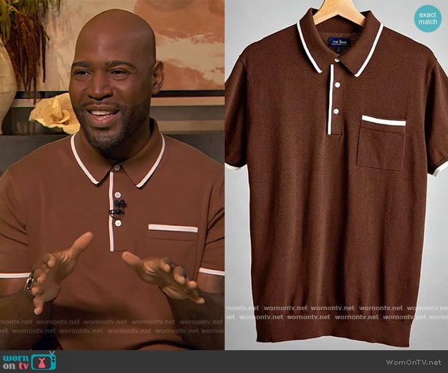Tipped Cotton Sweater Brown Polo by Tie Bar worn by Karamo Brown on The Drew Barrymore Show