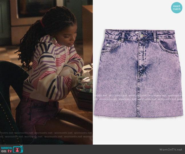 Purple Acid Wash Mini Skirt by Topshop worn by Skylar Forster (Halle Bailey) on Grown-ish