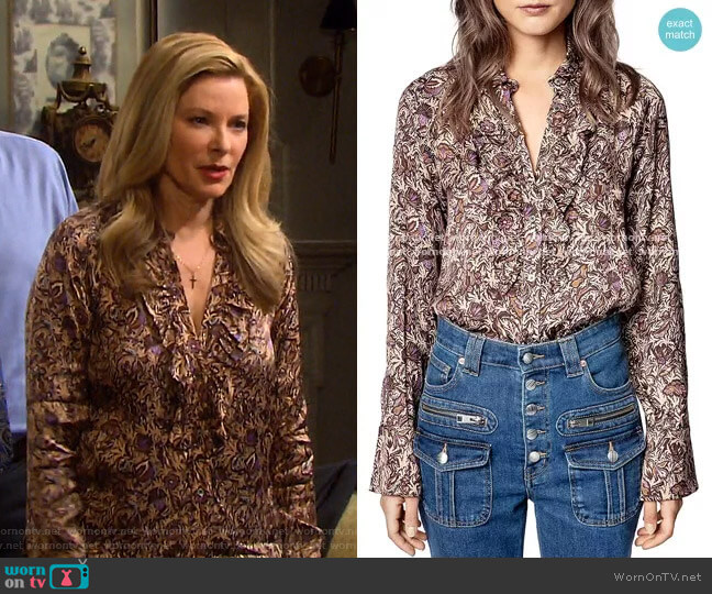 Tuska Blouse by Zadig & Voltaire worn by Jennifer Horton (Cady McClain) on Days of our Lives