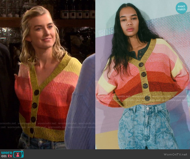 Turner Ribbed Button-Down Cardigan by Urban Outfitters worn by Claire Brady (Isabel Durant ) on Days of our Lives