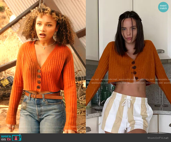 Rose Cropped Cardigan by Urban Outfitters worn by Jaylen Barron on  9-1-1
