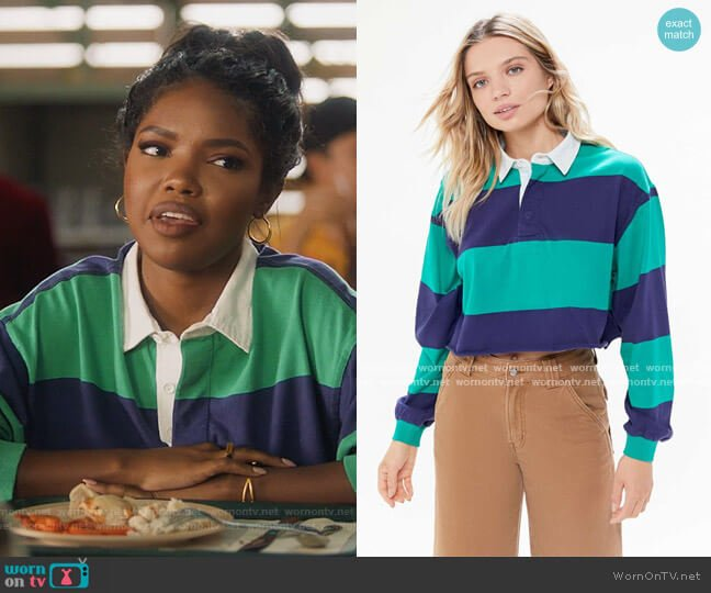 Jefferson Cropped Rugby Shirt by Urban Outfitters worn by Jillian (Ryan Destiny) on Grown-ish