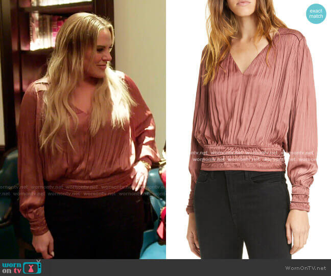 V-Neck Pleated Top by Frame worn by Heather Gay  on The Real Housewives of Salt Lake City