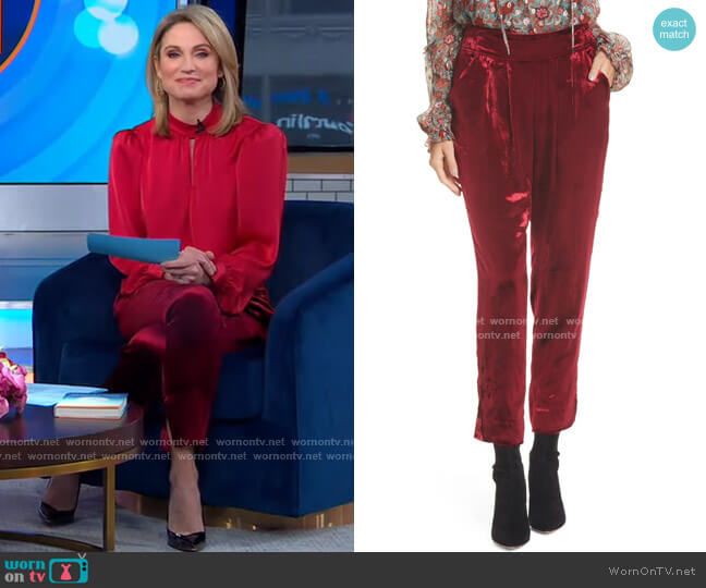Velvet Pants by Ramy Brook worn by Amy Robach  on Good Morning America
