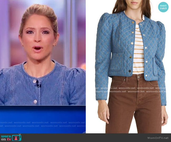 Camilla Quilted Denim Jacket by Veronica Beard worn by Sara Haines  on The View