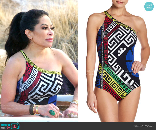 Colorblock Print One Shoulder One-piece Swimsuit by Versace worn by Jen Shah  on The Real Housewives of Salt Lake City