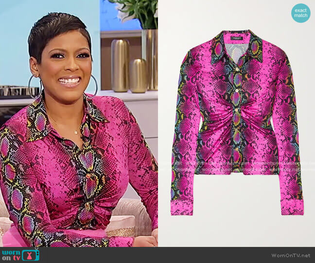 Ruched snake-print jersey blouse by Versace worn by Tamron Hall  on Tamron Hall Show