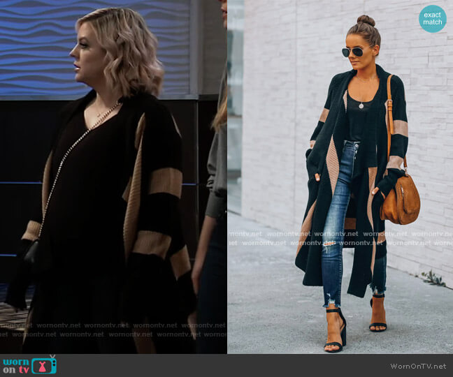 Edmonton Pocketed Striped Knit Cardigan by Vici worn by Maxie Jones (Kirsten Storms) on General Hospital