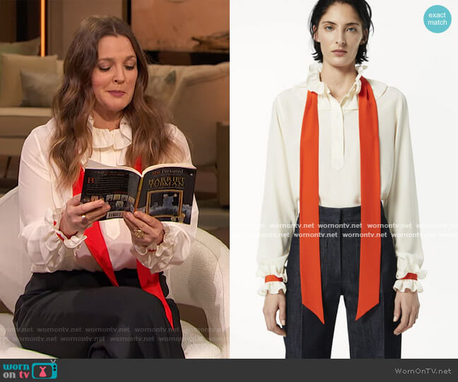 Frill Collar Shirt by Victoria Beckham worn by Drew Barrymore  on The Drew Barrymore Show