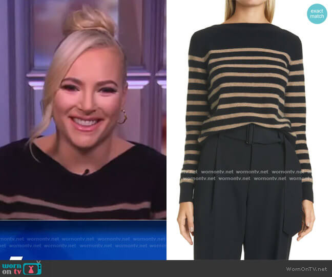 Breton Boat Neck Stripe Cashmere Sweater by Vince worn by Meghan McCain  on The View