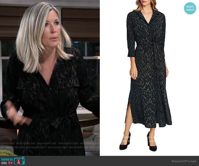 Leopard-Print Shirt Dress by Vince Camuto worn by Carly Corinthos (Laura Wright) on General Hospital
