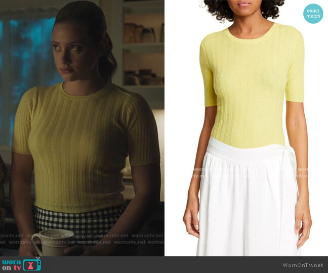 Elbow Sleeve Cashmere Pullover by Vince worn by Betty Cooper (Lili Reinhart) on Riverdale