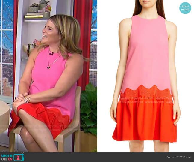 Wave Contrast Hem Wool Blend Dress by Lela Rose worn by Jenna Bush Hager  on Today