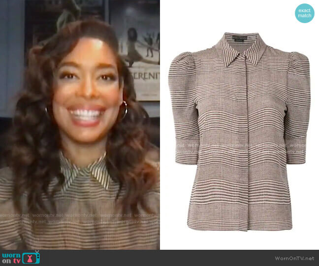 Will Prince Of Wales Check Puff-Sleeve Silk-Blend Blouse by Alice + Olivia worn by Gina Torres on Today
