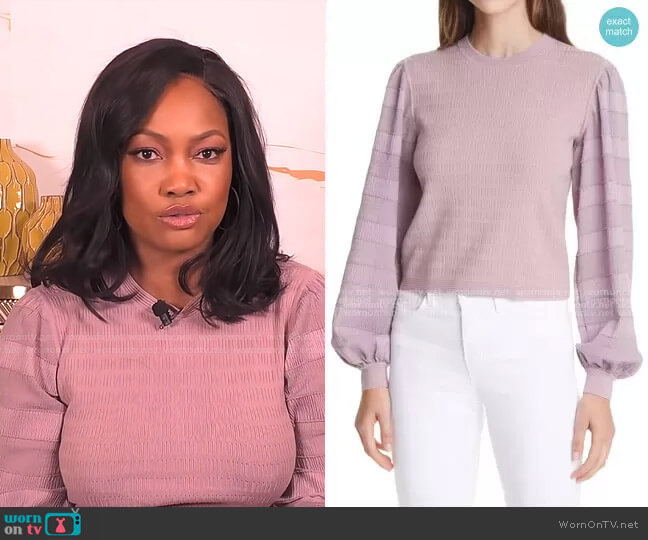 Woven Sleeve Sweater by Club Monaco worn by Garcelle Beauvais  on The Real