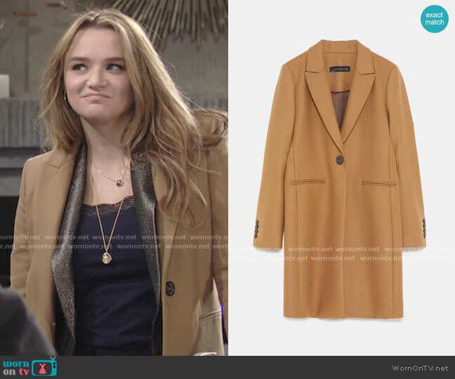 Zara Masculine Coat worn by Summer Newman (Hunter King) on The Young & the Restless