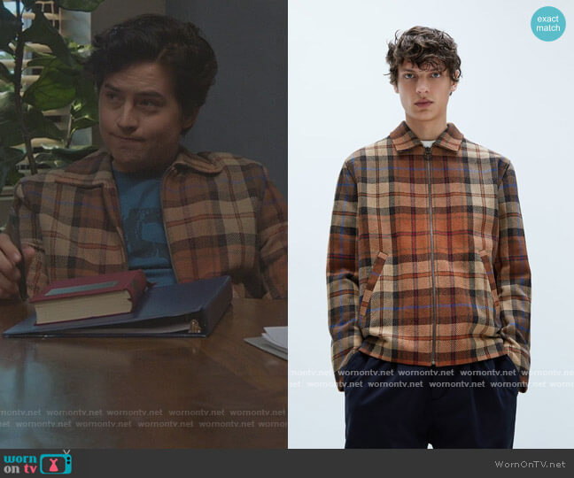 Man Textured Check Overshirt by Zara worn by Jughead Jones (Cole Sprouse) on Riverdale