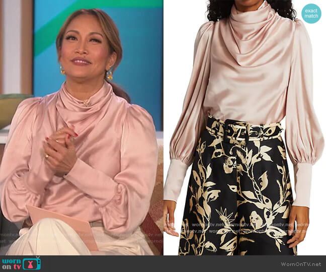 Silk Blend Cowlneck Blouse by Zimmermann worn by Carrie Inaba  on The Talk