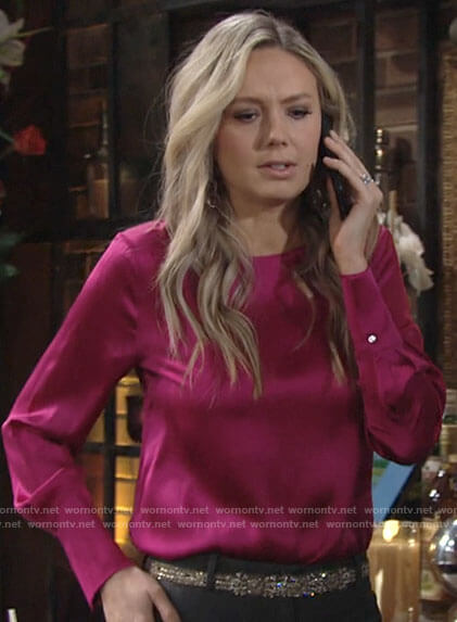 Abby's pink satin blouse on The Young and the Restless