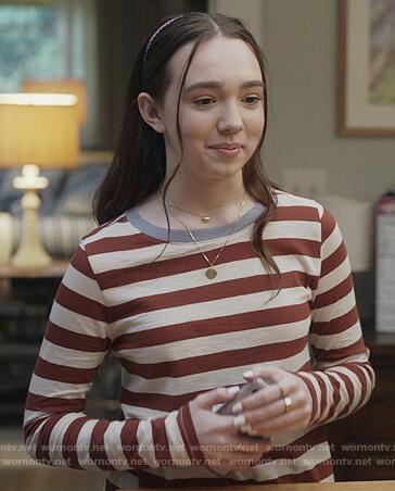 Grace's contrast stripe long sleeve tee on The Unicorn