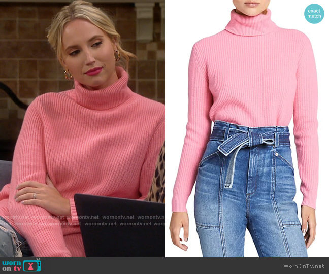 ALC Mitchell Sweater in Coral Pink worn by Mandy Baxter (Molly McCook) on Last Man Standing