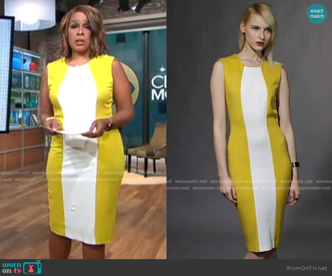 Alex Kramer Yellow and White Dress worn by Gayle King  on CBS This Morning