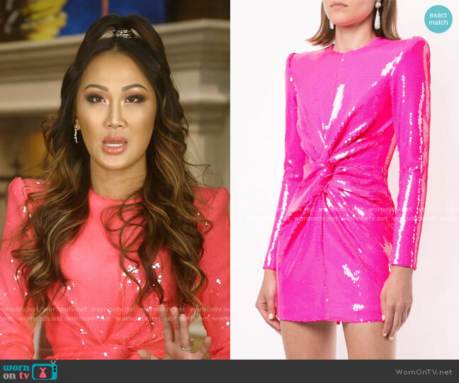 Jade Sequin-Embellished Structured Mini Dress by Alex Perry worn by Tiffany Moon  on The Real Housewives of Dallas