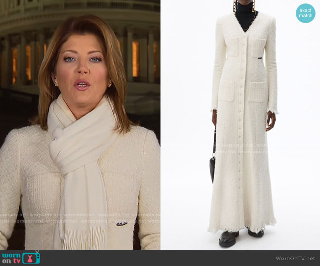 Frayed Tweed Maxi Coat Dress by Alexander Wang worn by Norah O'Donnell  on CBS Evening News