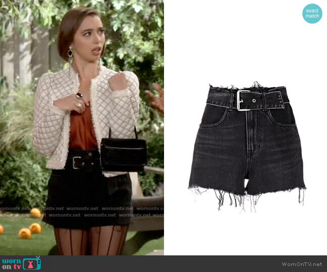 Alexander Wang Belted Denim Shorts worn by Celia (Emma Caymares) on Call Your Mother